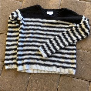 Justice Girls Black & White Striped Sweater size 6